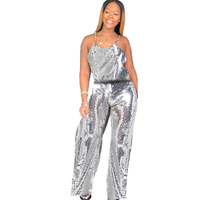 Spaghetti Strap Sparkle Glam Solid Sequin Strap Jumpsuits Sexy Sleeveless Sequined Overalls Evening Party Club Wide Leg Rompers