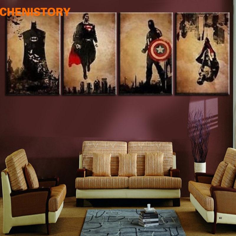 Unframed 4 panel superhero man handpainted modern abstract for Paintings for bedroom decor