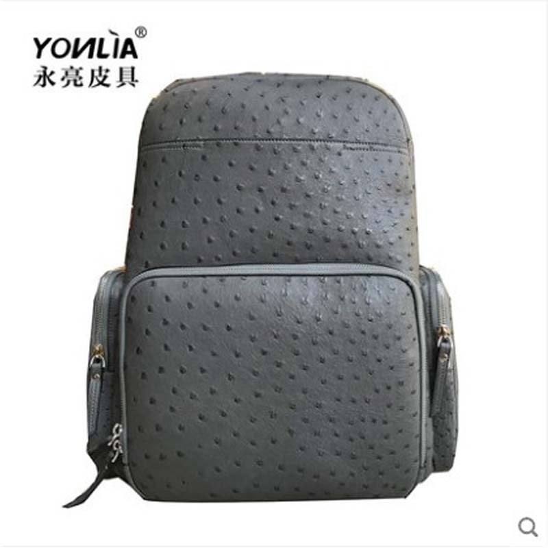 yongliang Leather new ostrich leather simple women backpack leather fashion joker personality style large capacity