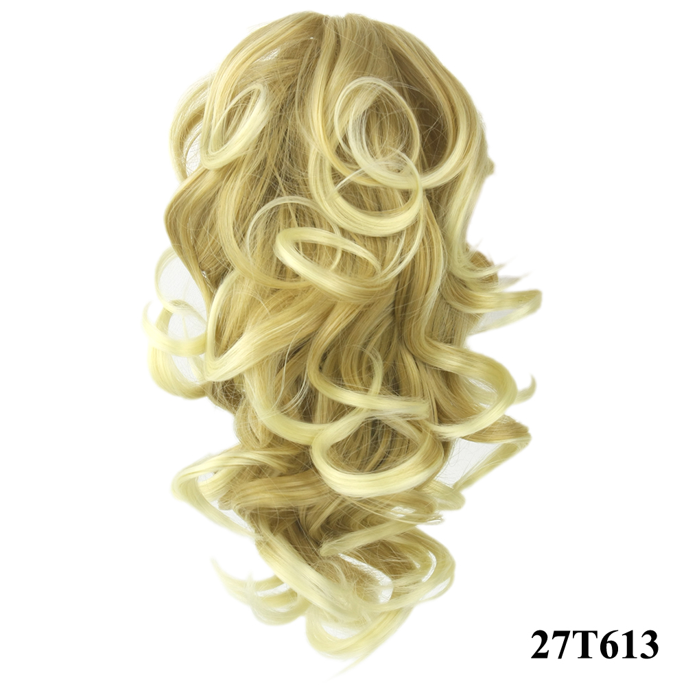 HTB10dqKQVXXXXaVXpXXq6xXFXXXy - Soowee 8 Color Curly High Temperature Fiber Synthetic Hair Pony Tail Hairpiece Blonde Gray Clip In Hair Extensions Claw Ponytail