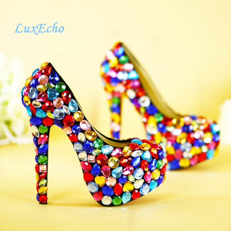 Love Moments muilti color big rhinestone high heel wedding shoes colorful thin heels platform shoes girl