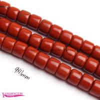 จัดส่งฟรี9x11มิลลิเมตรสีแดงธรรมชาติสีJ asperกลองรูปร่างอัญมณีหลวมลูกปัดS Trand 15