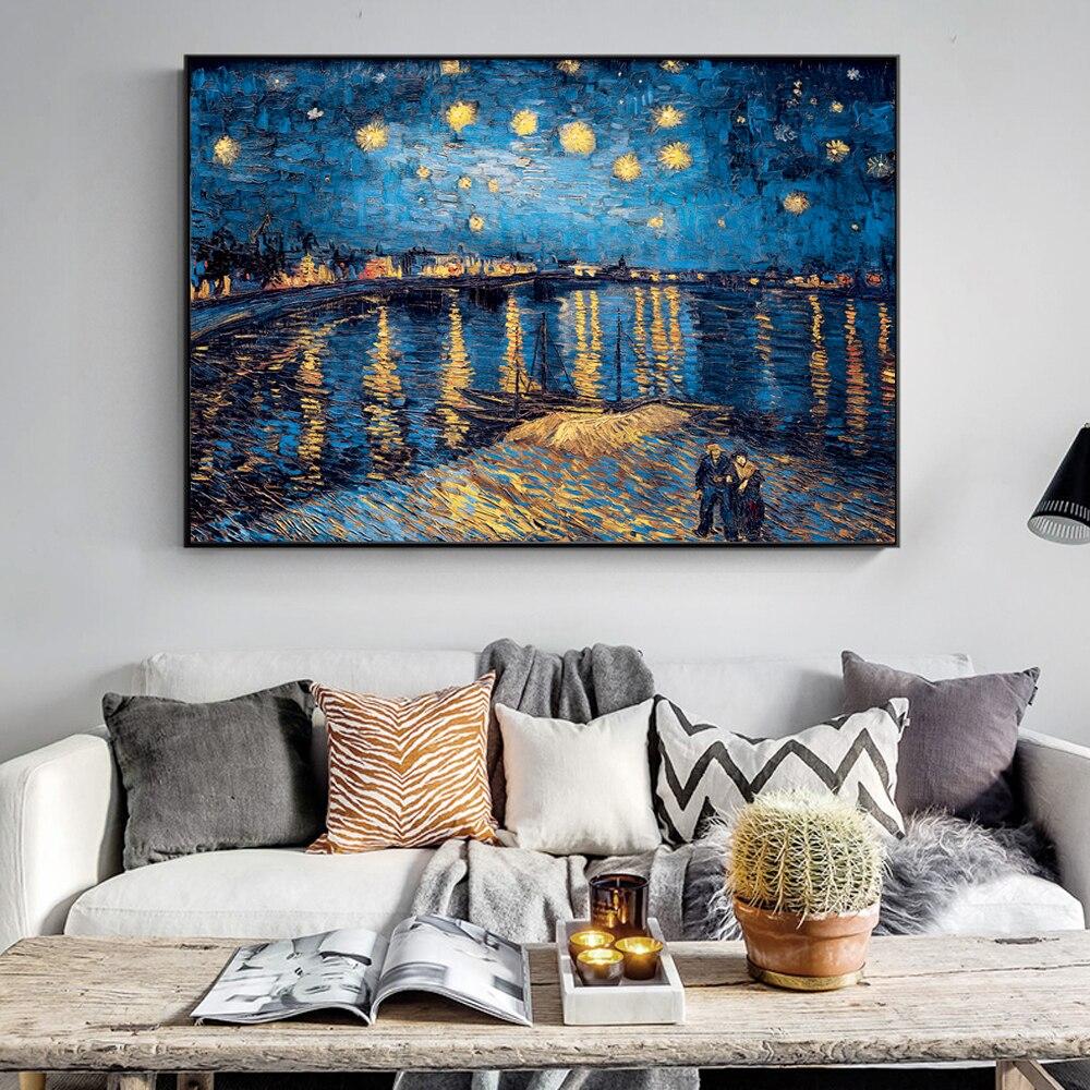 HTB10dqaBVmWBuNjSspdq6zugXXaM Van Gogh Starry Night Canvas Paintings Replica On The Wall Impressionist Starry Night Canvas Pictures For Living Room Cuadros