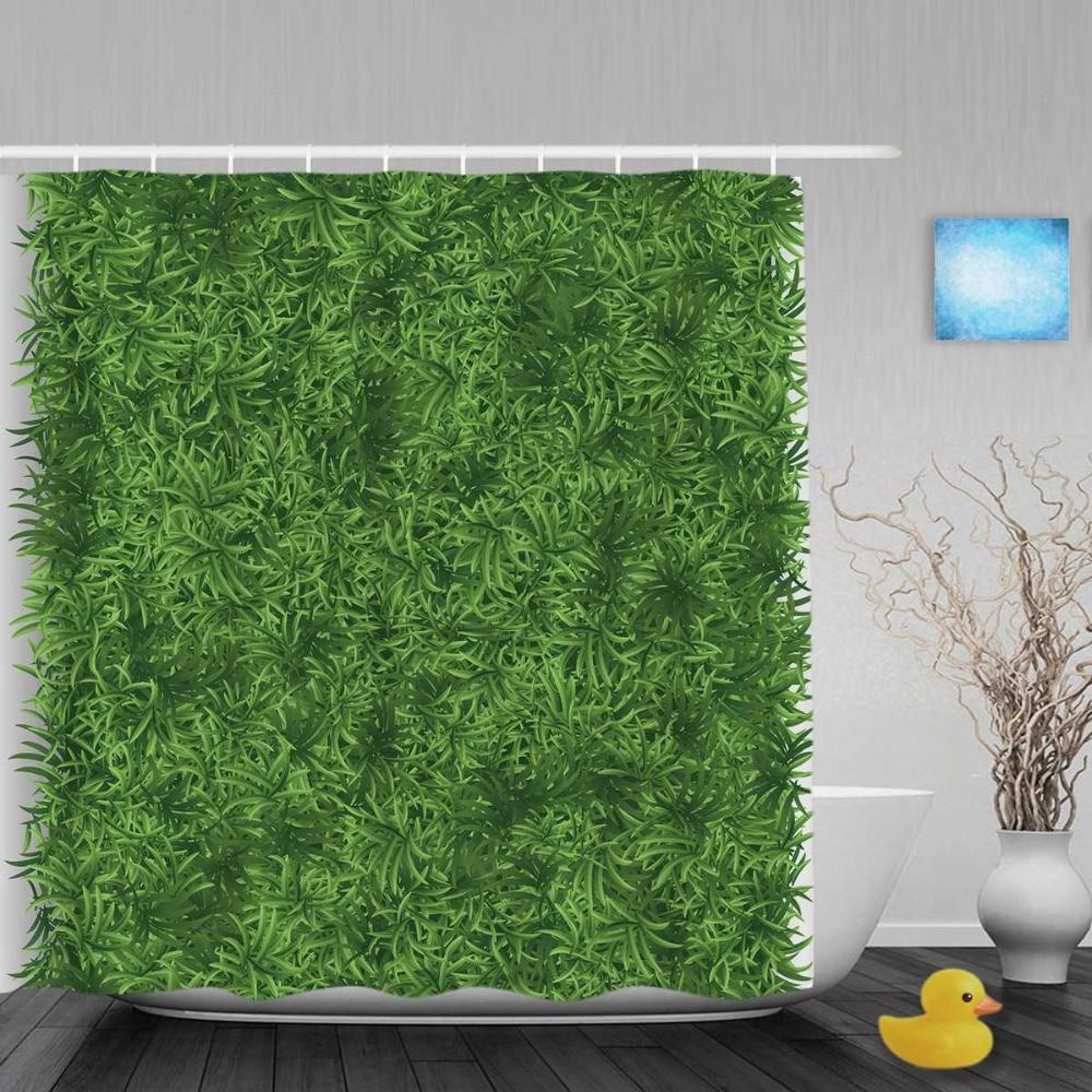 Online Shop 3D Printing Shower Curtain Bright Green Grass Meadow ...