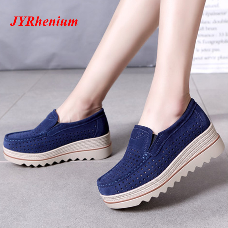 2018 Autumn Women Flats Shoes Platform Sneakers Shoes Genuine Leather Suede Casual Shoes Slip On Flats Heels Creepers Moccasins цена