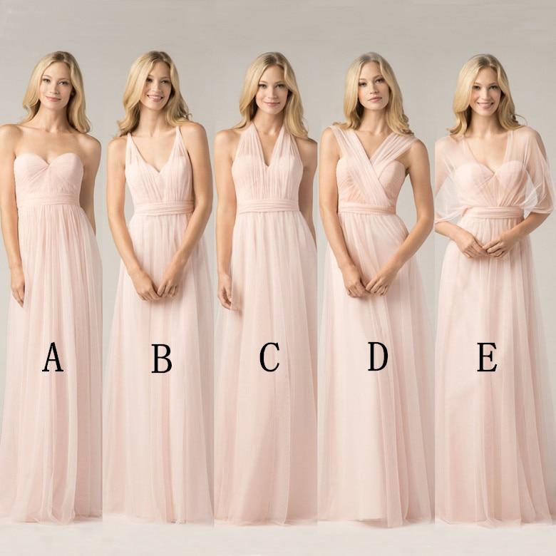 2018 Convertible Bridesmaid Dresses Blush Pink Custom Made