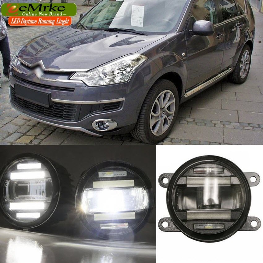 eeMrke Car Styling For Citroen C-Crosser 2007-2012 2 in 1 Multifunction LED Fog Lights DRL With Lens Daytime Running Lights eemrke car styling for opel zafira opc 2005 2011 2 in 1 led fog light lamp drl with lens daytime running lights