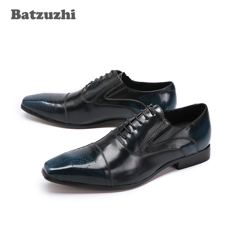 Batzuzhi 2018 Handmade Leather Men Dress Shoes Lace-up Wedding Party Office Blue Formal Oxfords Male Footwear, EU38-46 2017 simple common projects breathable lace up handmade leather shoes casual leather shoes party shoes men winter shoes
