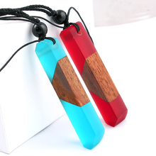 Solid Wood Pendant Necklace / Sweater Ethnic Travel Jewelry Solidified Time Resin Handbag NX004