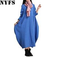 2016 Summer Vintage Cotton Linen Women Dress Plus Size Loose Casual Long Maxi Dress Vestidos