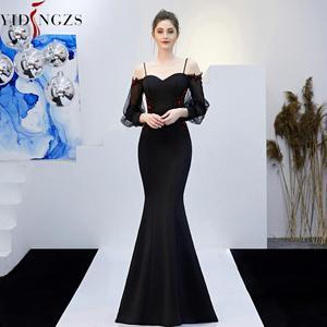 Image 5 - YIDINGZS ללא משענת אפליקציות ואגלי ארוך שמלת ערב רצועת פורמליות ערב המפלגה שמלת YD0801