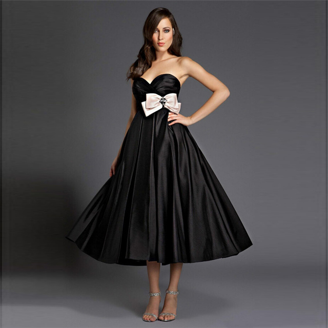 Elegant Black Satin Bridesmaid Dresses Tea Length A Line