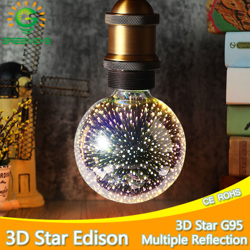 G95 5w 3D Star Led Edison Bulb Light Holiday Christmas Decoration Bar Glass LED Lamp Lamparas novelty lamp christmas decor home led light bulb edison 3d decoration silver holiday christmas decoration night bar glass led lamp 3w 5w candle lamparas bombillas