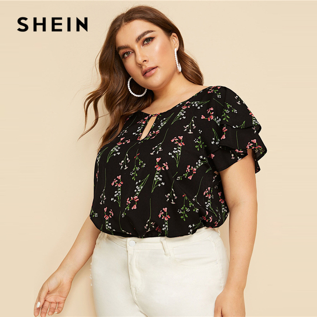 SHEIN Plus Size Choker Neck Layered Ruffle Sleeve Botanical Top Blouse 2019 Women Summer Casual Floral Print Cut Out Blouses 3