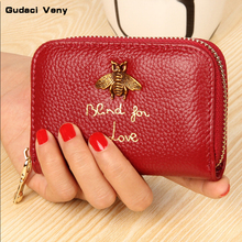 Card package women's leather short organ organ purse first layer leather small bag Korean version of the multi-card mini card