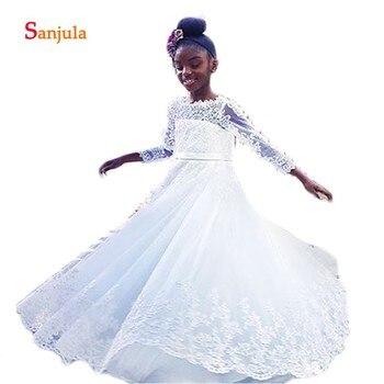 Three Quarter Sleeve Flower Girls Dresses African Little Girls Pageant Dress V Back Apliques White First Communion Gowns D164