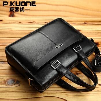 Brand Men Genuine Leather Briefcases Hand Bag Black Brown Business office laptop bag Men's Travel Bags Messenger Bags M0001