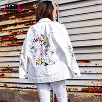 Jastie Floral Embroidered Studded Jacket Coat 2018 Autumn Winter Jackets Long Sleeves Women Outerwear Casual Basic Denim Jacket