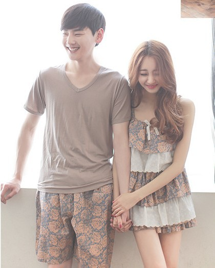 Foply Couple Pajamas Sets Cascade Cake Nightgowns Sleep Set Deep V-neck Sexy Spaghetti Strap Shorts Homewear Women Pajama Sets