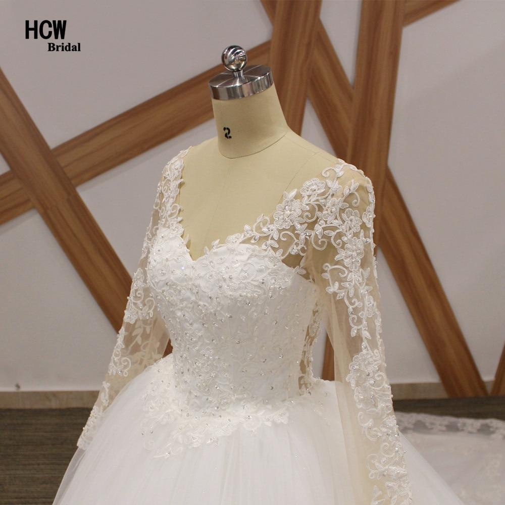 Romantische lange mouw koninklijke trein trouwjurk 2019 v-hals - Trouwjurken - Foto 4