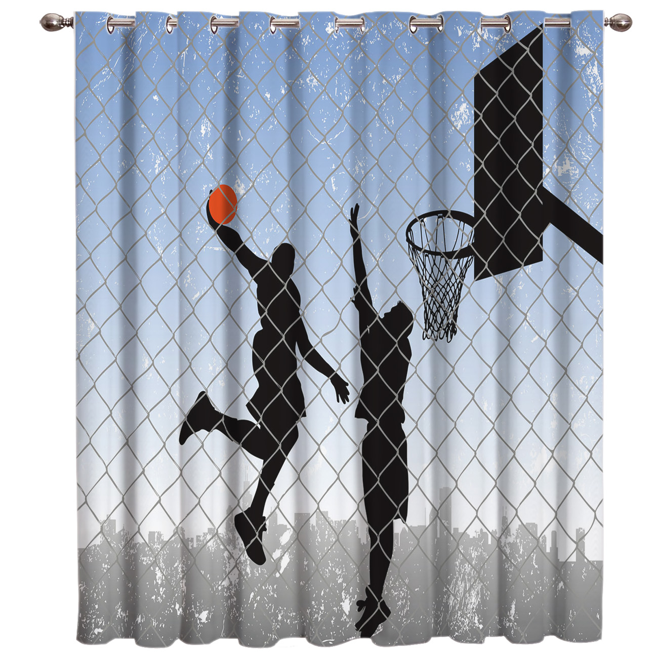 Basketball Shooting Silhouette Abstract Net Sports Game Figure Jumping Blackout Drapes Fabric Indoor Kids Curtain Panels With