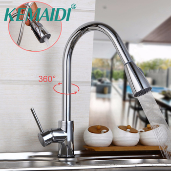 KEMAIDI  Pull Out Stream Spout 360 Swivel Chrome Brass Finish Deck Mounted Tap Kitchen Sink Faucet Hot & Cold Mixer