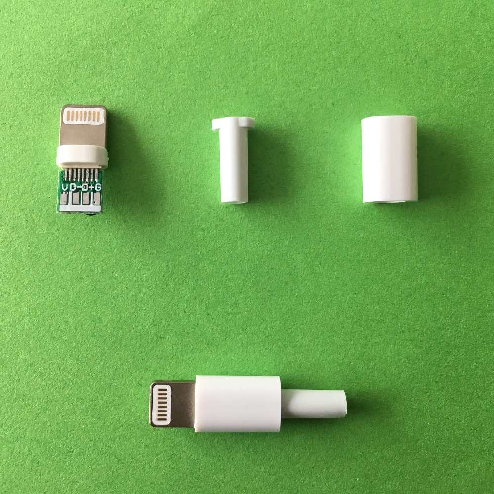4pcs/pack YT2157Y Lightning Dock USB Plug With Chip Board And No Chip Board DIY Assembled Charging Cable Making Telephone Use