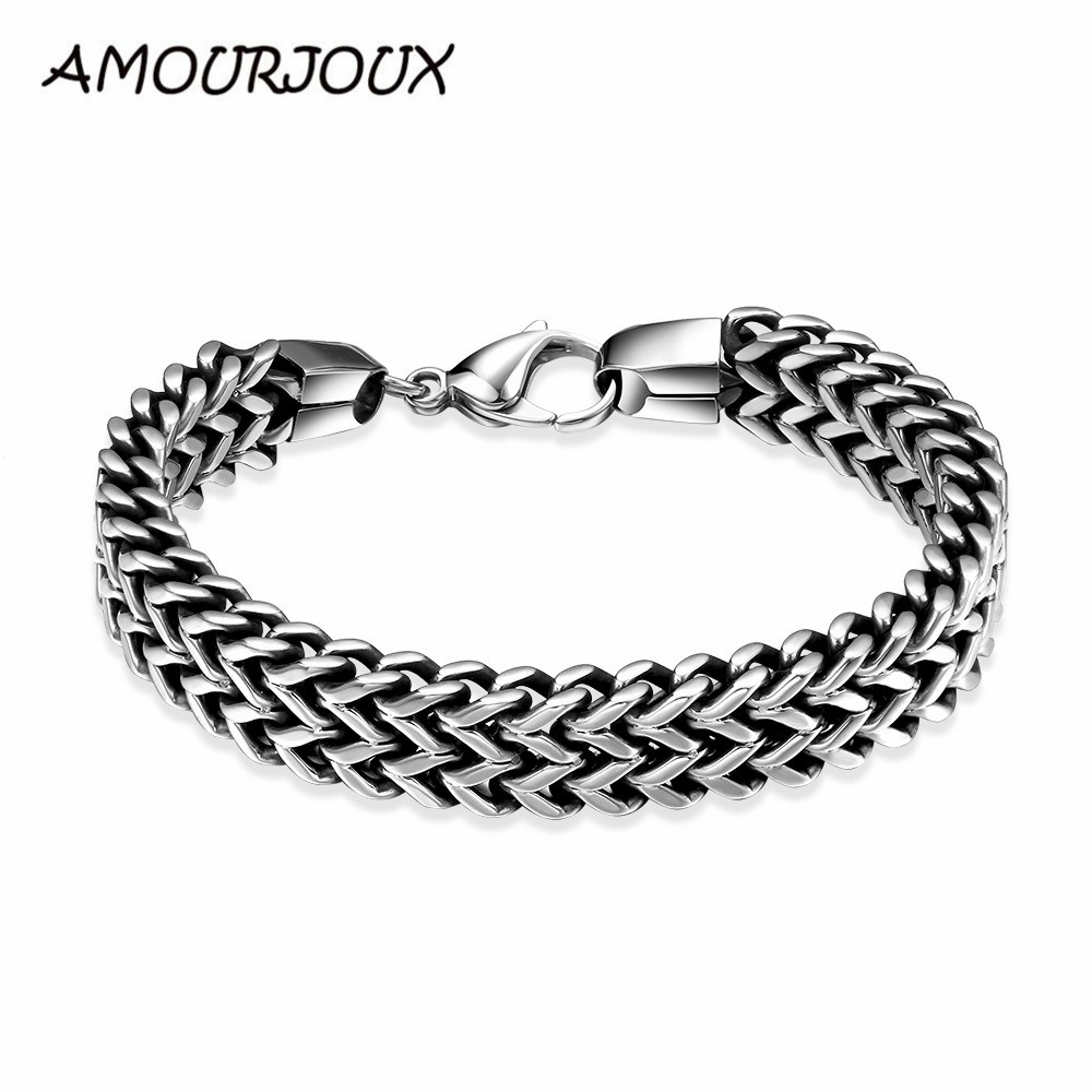 AMOURJOUX Brand 12MM Width Dual Layer Snake Chain 316L Stainless Steel Bracelet Mens Boys bracelets For Tough Guys Wholesale