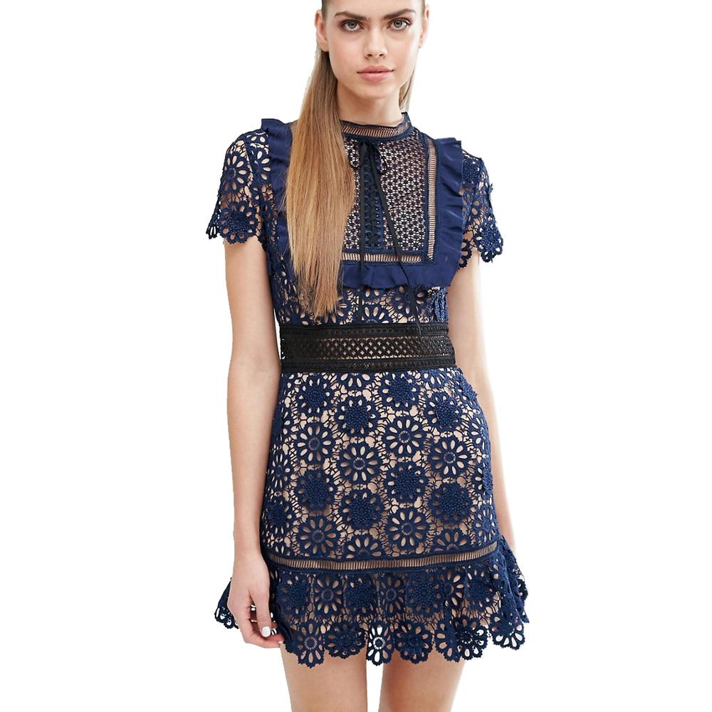 Party dresses lace women vintage navy mini elegant dress vestidos brand design 2017 women clothing