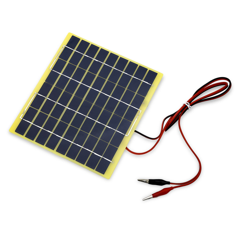 BUHESHUI 18V 5Watt 200*210*3MM <font><b>Solar</b></font> Panel <font><b>Solar</b></font> Cell For <font><b>12</b></font> <font><b>Volt</b></font> Garden Fountain Pond <font><b>Battery</b></font> Charger DIY Charger+1M Cable image