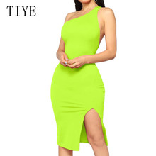 TIYE High Split One Shoulder Irregular Neck Dress Sexy Sleeveless Hollow Out Backless Bodycon Dress Women Summer Night Club Wear alluring round neck one shoulder club dress for women