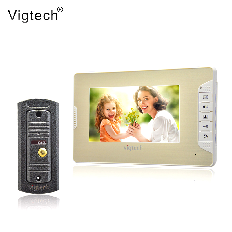 Vigtech7`` video intercom video doorphone speakerphone intercom system white monitor outdoor with waterproof & IR cameraVigtech7`` video intercom video doorphone speakerphone intercom system white monitor outdoor with waterproof & IR camera