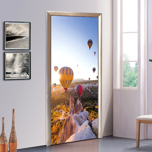 Creative DIY 3D Door Stickers Hot Air Balloon Travel Pattern For Room Wall Decoration  Home Decor