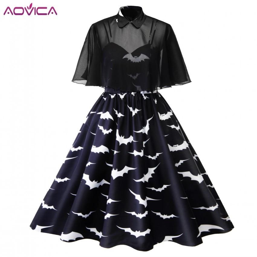 4xl 3xl grande taille Halloween chauve-souris impression gothique robe femmes Punk fête vêtements Bowknot même gothique robe Rock Vestido