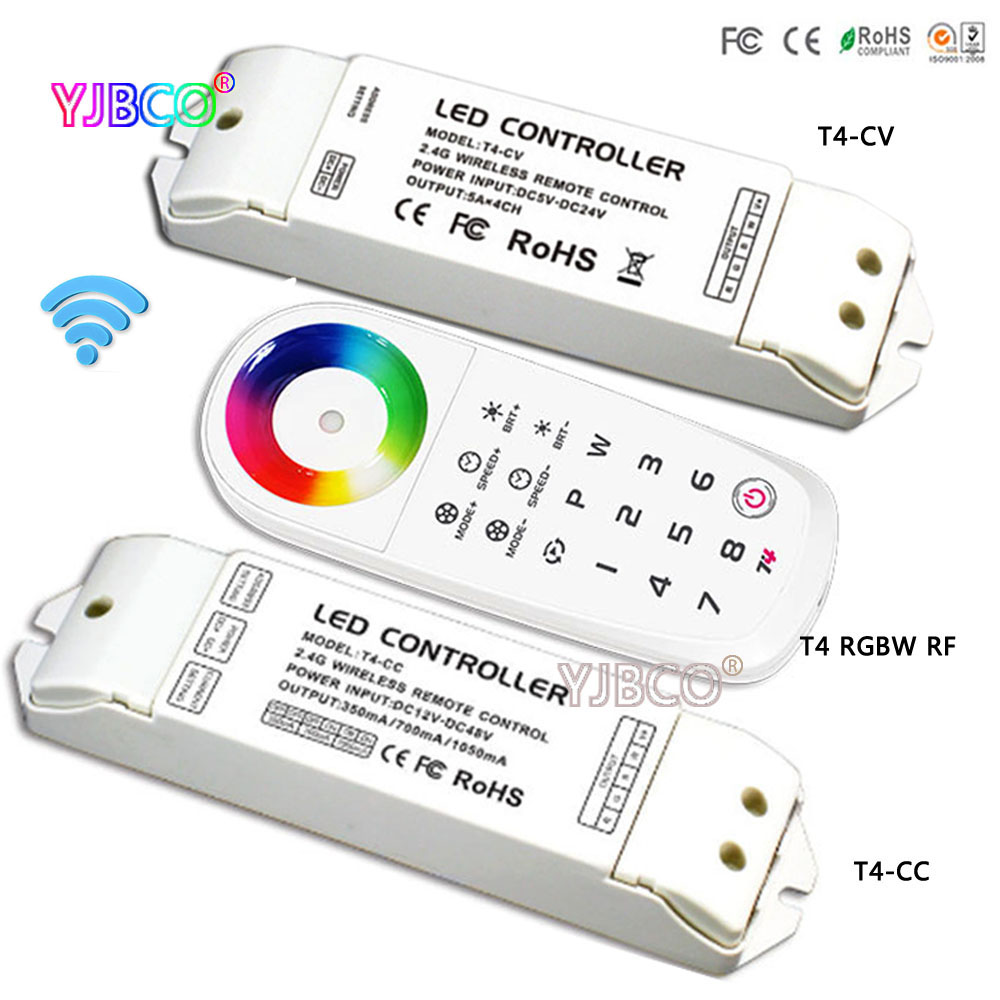 New arrival LED RGBW Controller T4 2.4G Remote 8 Zone Wireless Sync/zone RGBW Controller T4-CV/T4-CC receiver for RGBW led strip t4 cc receiver controller 2 4g wireless remote constant current led current suitable for t4 remote control free shipping