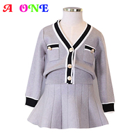 Autumn Spring fashion v neck contrast color baby girls cardigan+ ruched skirt kids 2 pcs set children brand suit cloth 3 to 9yrs
