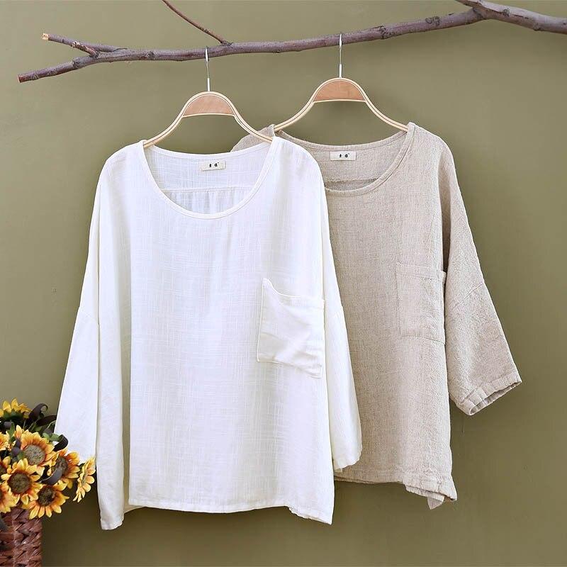 Femmes chemises lâche manches chauve-souris Vintage 2018 automne été mode coton lin hauts femmes blanc grande taille O cou lâche Blouse - 5