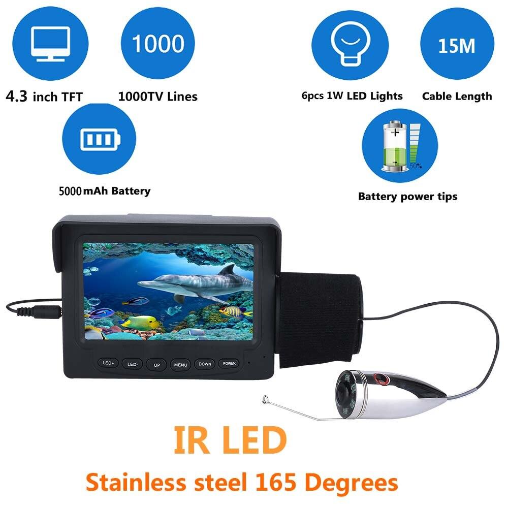 "GAMWATER Stainless Steel 30M 15M 1000TVL Fish Finder Underwater Fishing Camera 4.3"" TFT Monitor 6PCS 1W IR LED Night Vision"