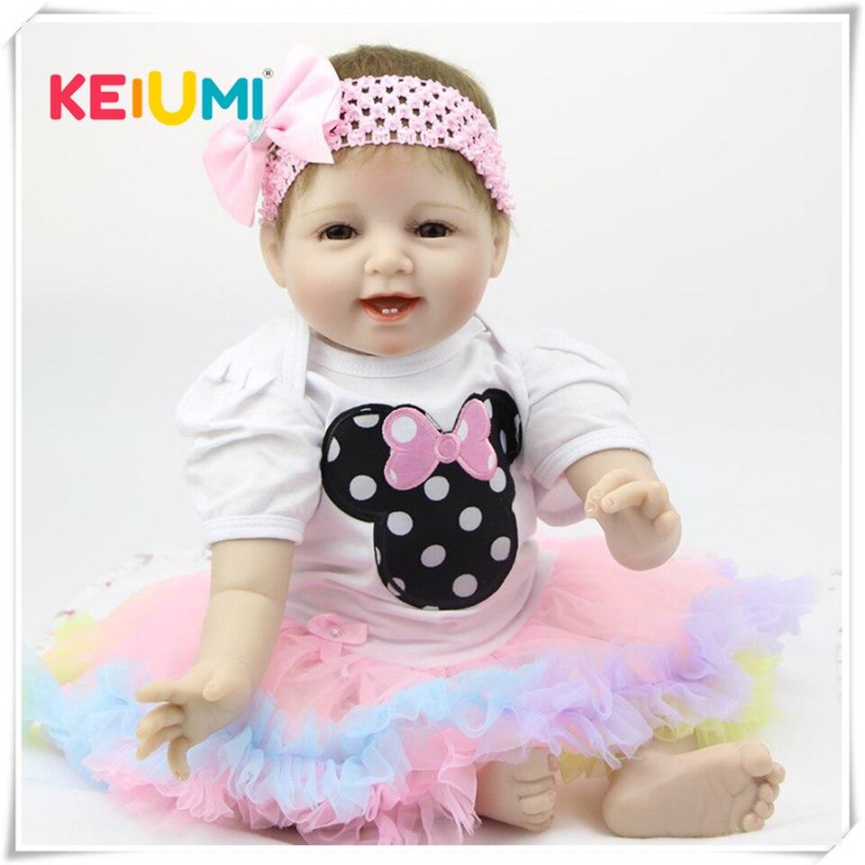 Handmade Reborn Baby Doll 22 Inch 55 cm Soft Silicone Baby Girl Smiling Newborn Dolls Children
