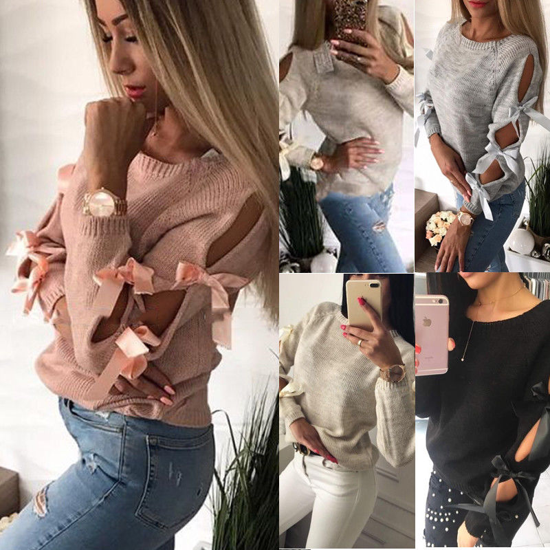 2018 New Brand Solid Bow Tie Women Winter Long Sleeve Sweater Ladies Jumper Pullover Tops
