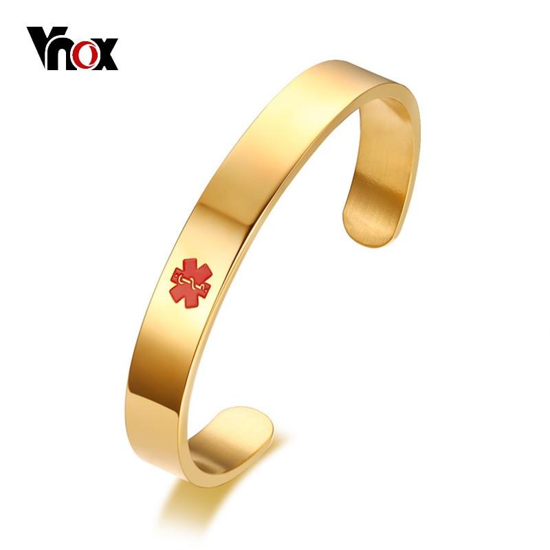 Vnox 10mm Kostenlosen Gravur Herren Armband Medical Alert ID Armband Edelstahl Silber Schwarz Gold Farbe Notfall Männlichen Schmuck