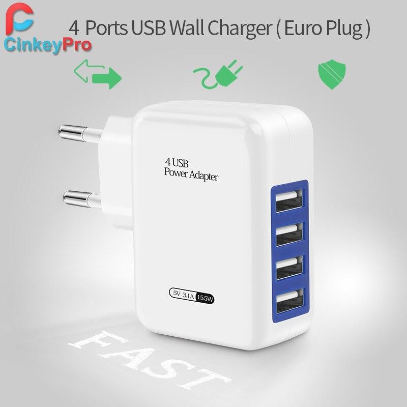 CinkeyPro USB Зарядное устройство для iPhone samsung Android зарядки iPad 5 В 4A 4-Порты мобильный телефон Универсальный Быстрая зарядка сетевой адаптер
