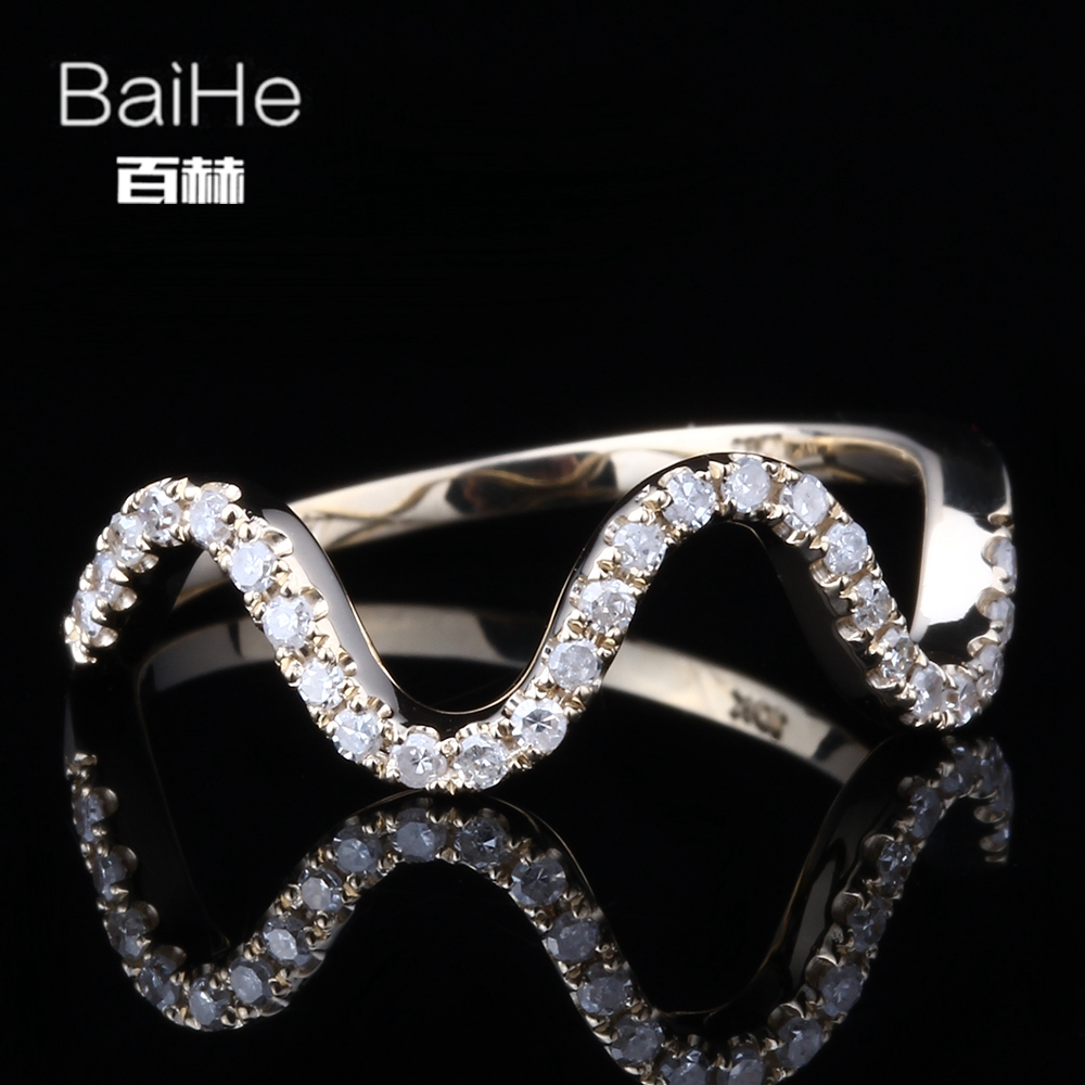 BAIHE Solid 14K Yellow Gold(AU585) 0.2CT Certified 100% Genuine Natural Diamonds H/SI Round Cut Party Women Ring цена