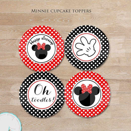 Mickey Minnie Sticker Party Supplies Candy Labels Cupcake Toppers Birthday Party Decorations Kids Sticker Label for Birthday
