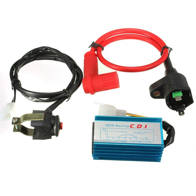 Motorcycle Race Ignition Coil CDI Kill Switch Kit For 110cc 125cc Pit Dirt Bike