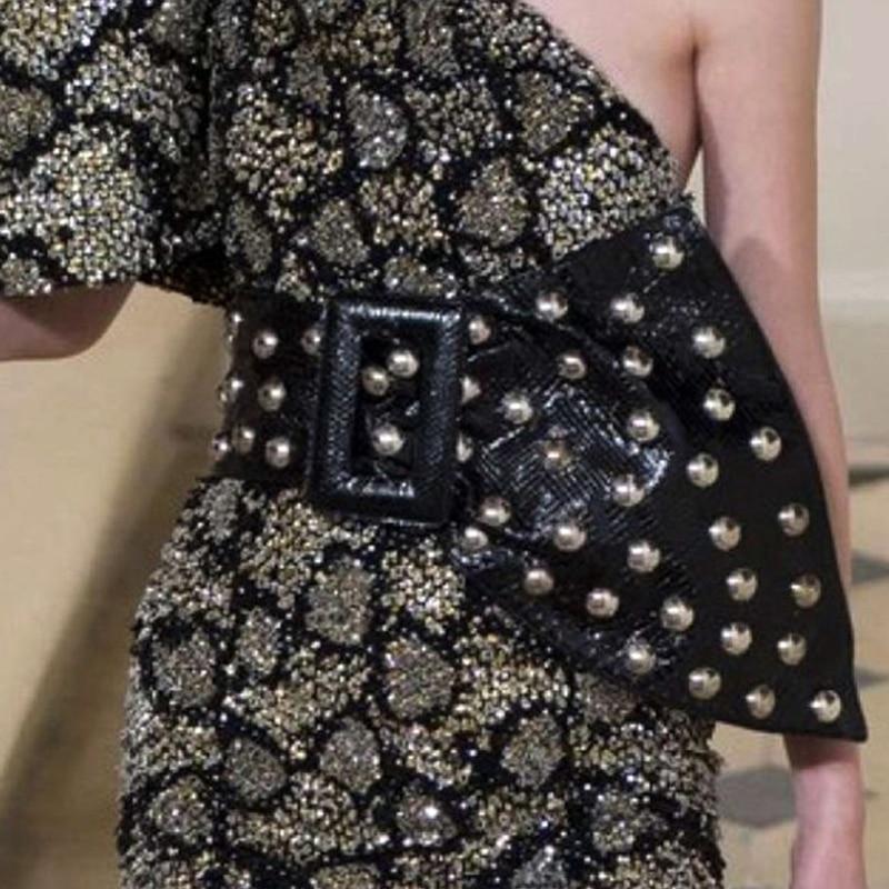 2017 г. европейские модные женские простые Заклёпки одноцветное широкий пояс для Для женщин дамы талии кожаный ремешок аксессуары