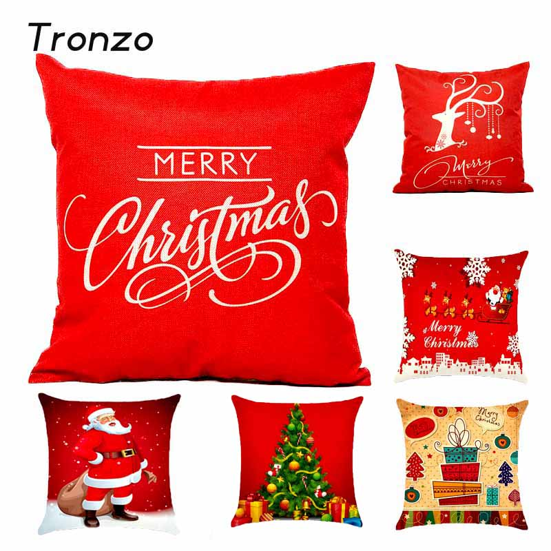 Tronzo Hot Christmas Decorations For Home 1pcs Reindeer Jute Pillow Cover Case MERRY CHRISTMAS Square Linen
