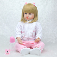NPKCOLLECTION58cm new arrival cotton body simulation baby girl best children play toy and gifts silicone reborn baby dolls