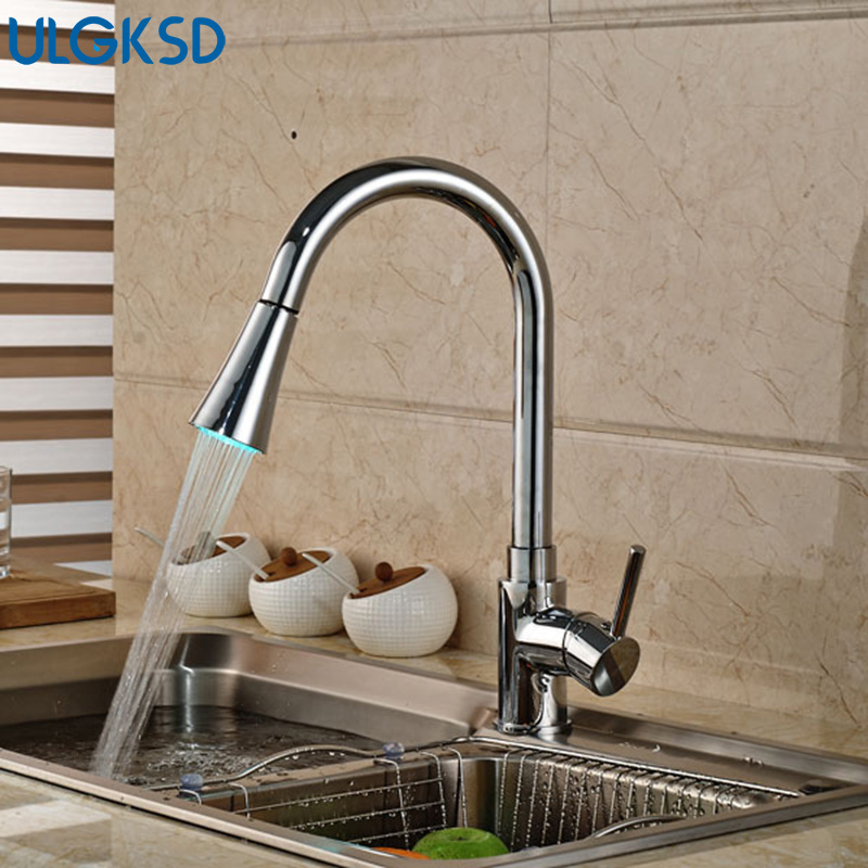 Ulgksd Single Handle Chrome Pull Out SprayerKitchen Faucet Deck MountedHot and Cold Water Taps Bathroom Faucet