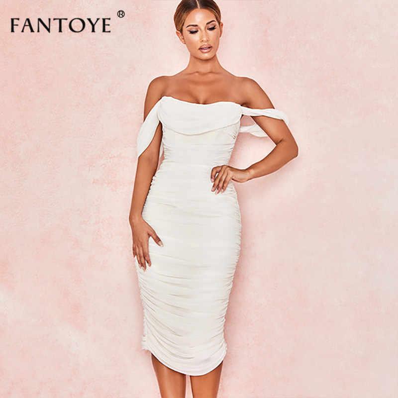 Женское платье с открытыми плечами Fantoye, плиссированное облегающее платье белого цвета с открытой спиной, приталенное двухслойное макси-платье для вечеринки, 2019